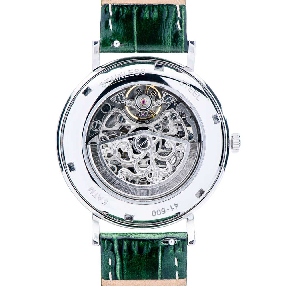Julien de Bourg mechanical watch Saint-Rémy Silver-Green back